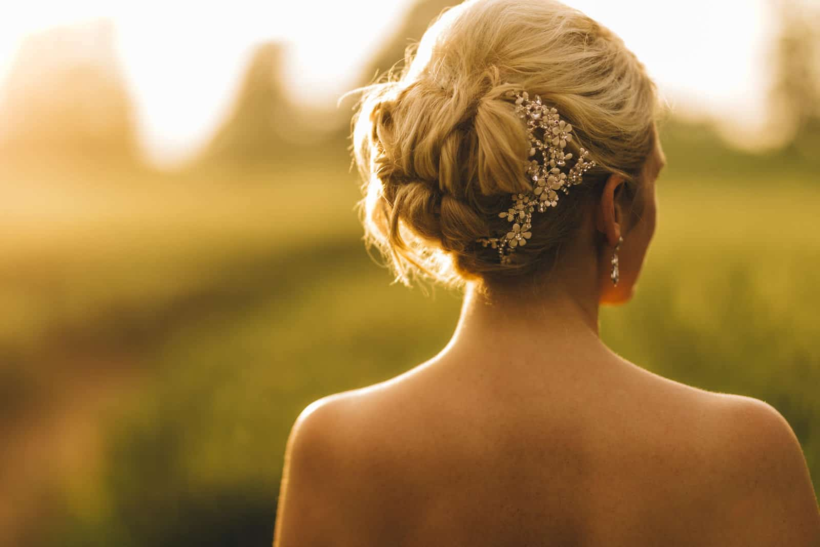 golden hour photography of a brides hair