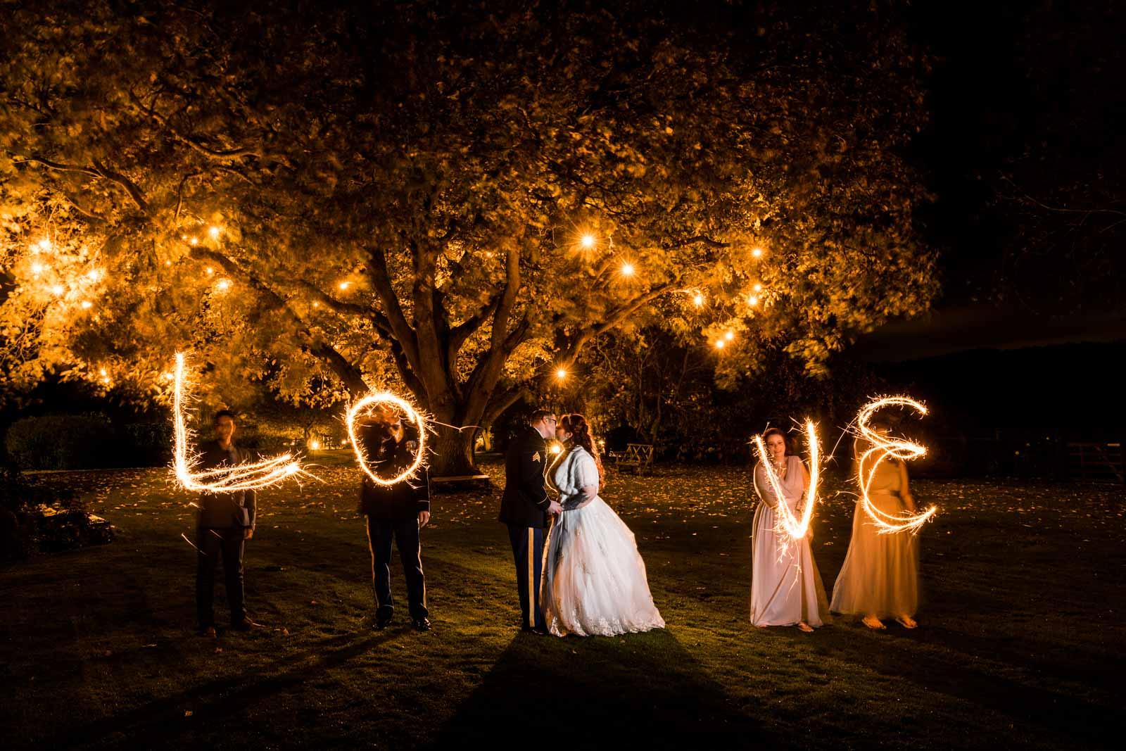 Great wedding sparkler ideas taken at Crockwell Farm