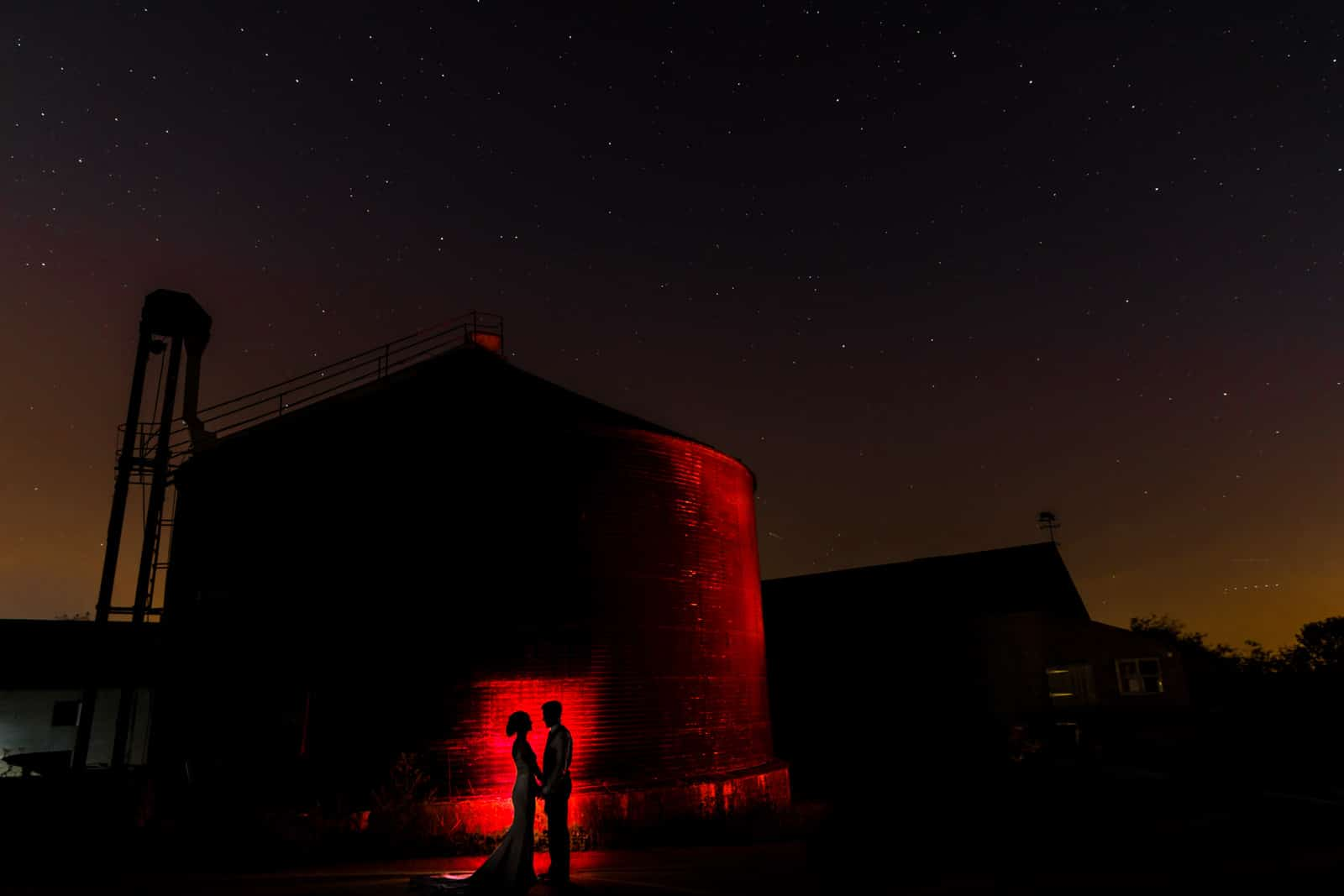 Stunning wedding photo including the stars and a farm