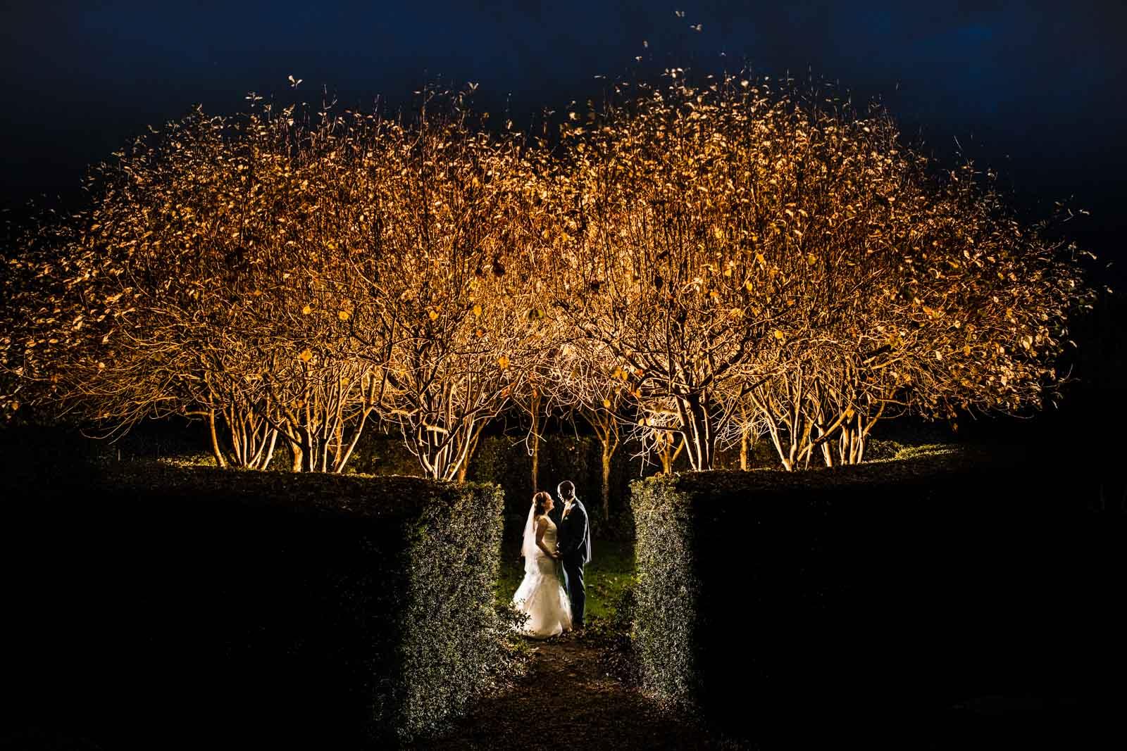 Fawsley Hall Wedding Photography at night