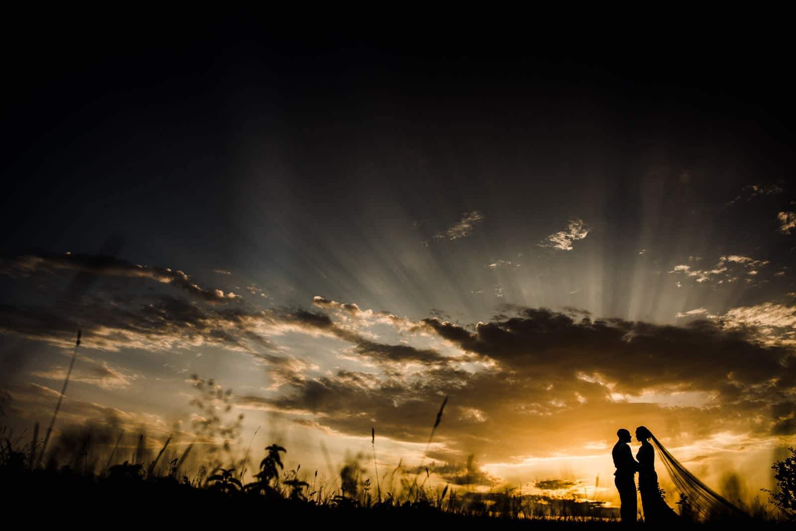 Amazing silhouette, of bride and groom, beautiful sunset Cotswolds Wedding Photographers
