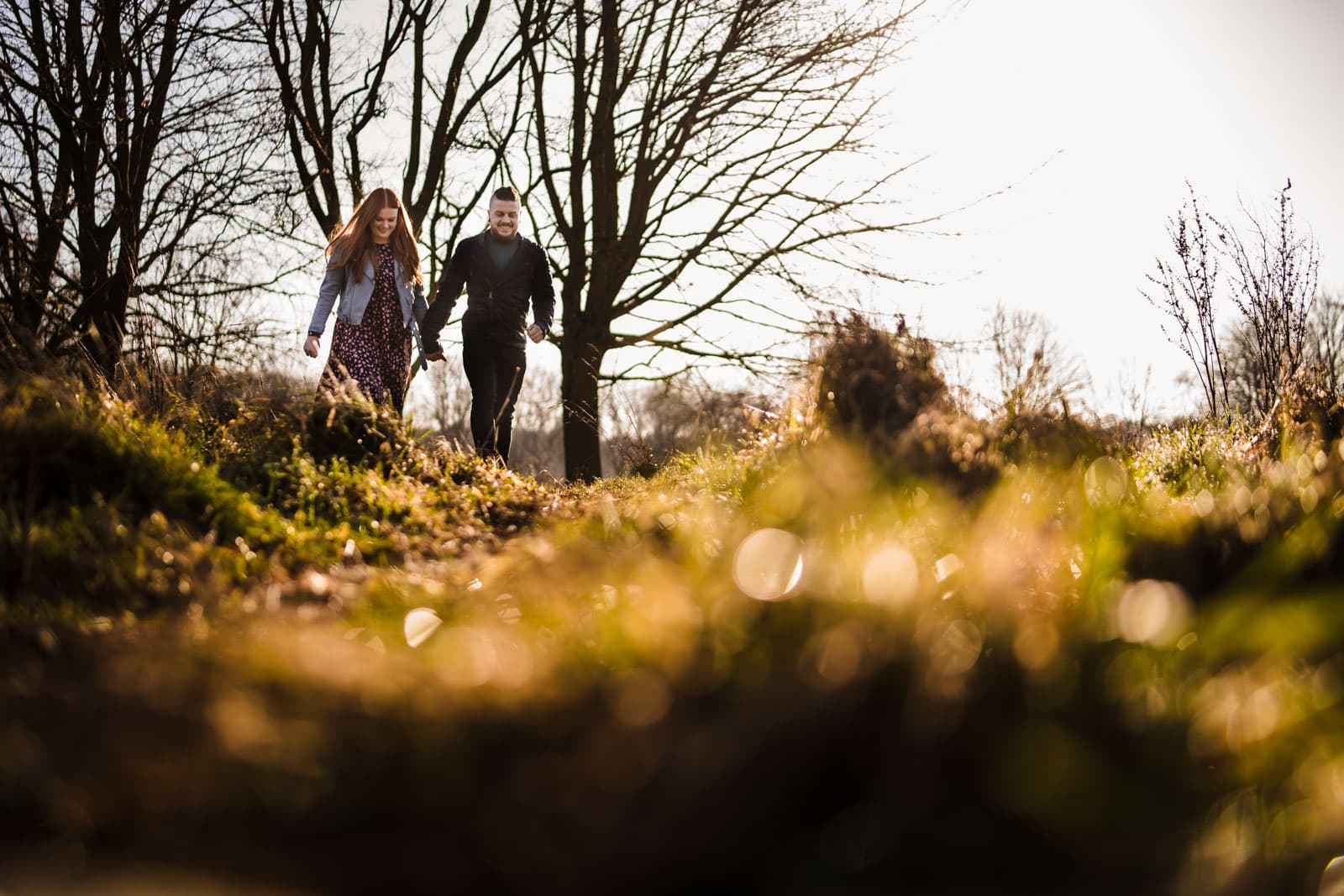 Couple walking in the grounds of Delapre abbey