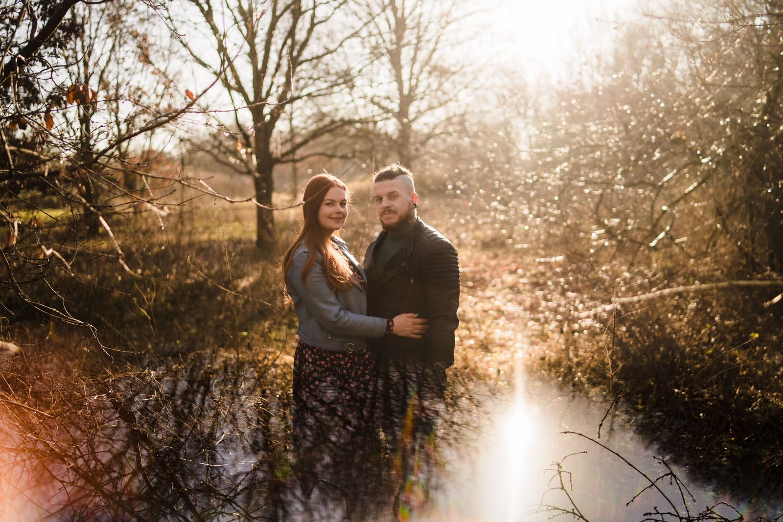 Engagment shoot, photo using prism to reflect couple