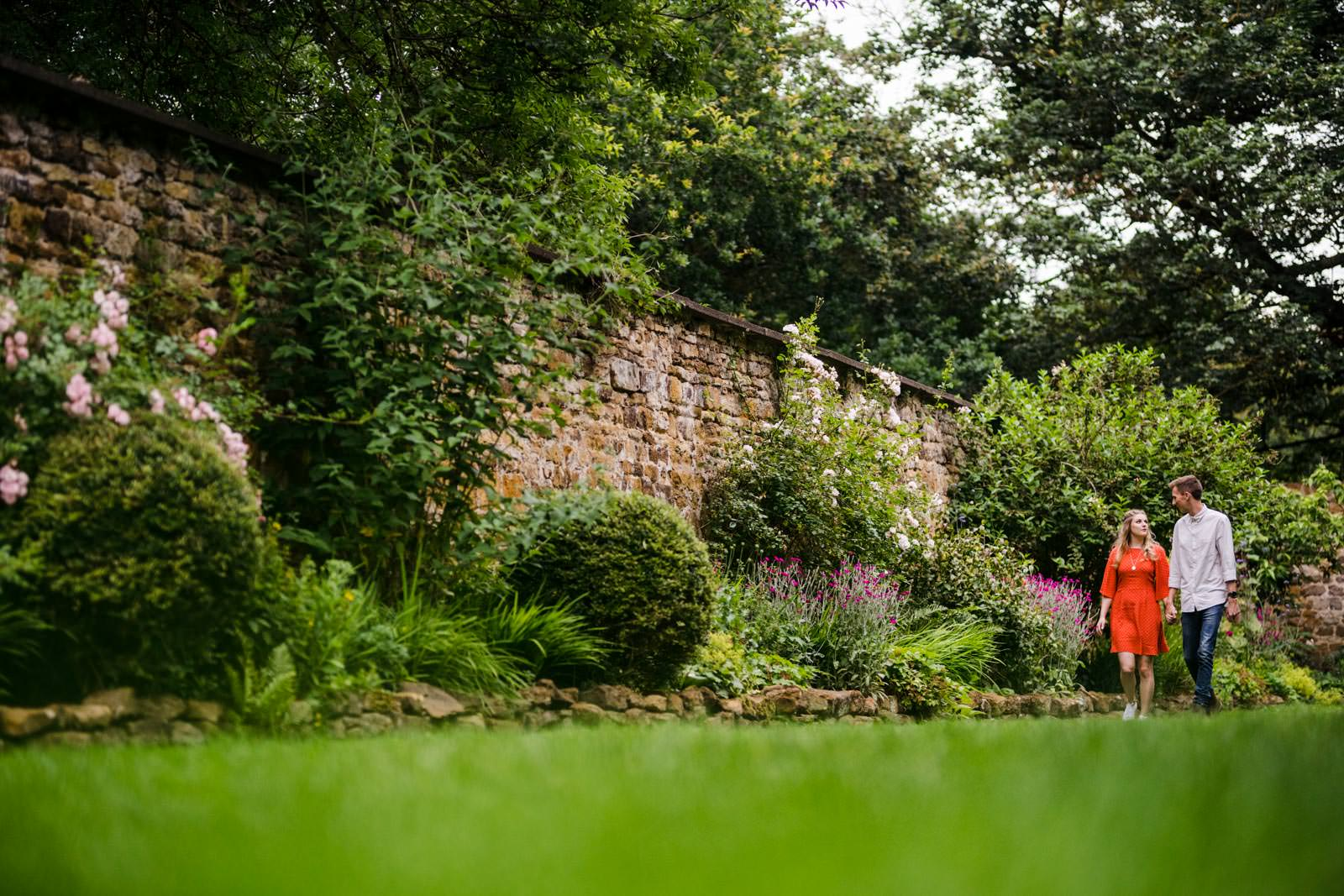 walled garden at delapre abbey couple engagement pre wedding shoot