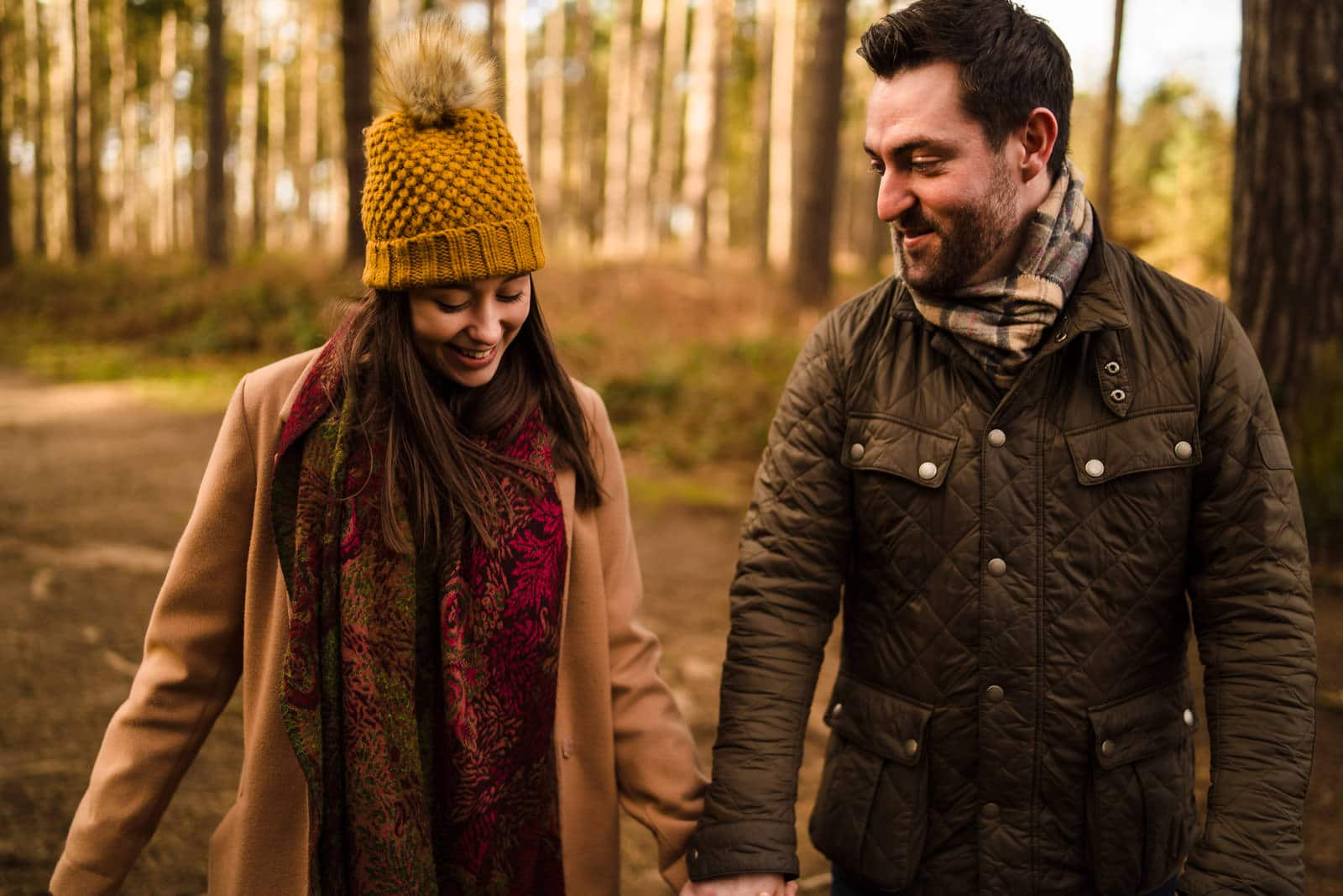 Engagement photography at harlestone firs forest walk
